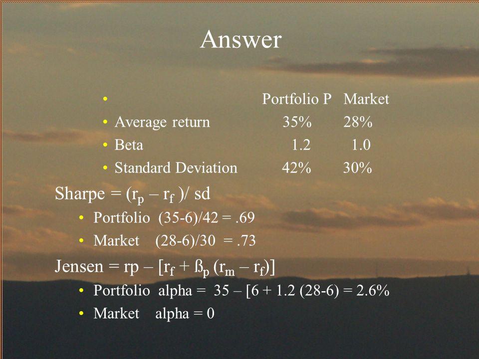 Answer Sharpe = (rp – rf )/ sd Jensen = rp – [rf + ßp (rm – rf)]